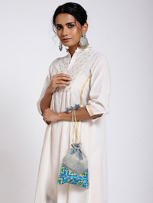 Powder Blue Silk Potli with Phulkari Work