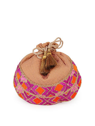 Multicolored Handcrafted Silk Phulkari Potli