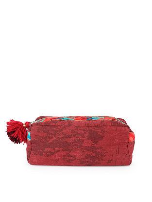 Red Handcrafted Phulkari Travel Kit