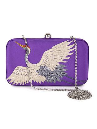 Purple-Ivory Crane Crepe Silk Parsi Gara Box Clutch