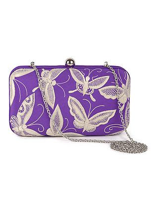 Purple-Ivory Butterfly Crepe Silk Parsi Gara Box Clutch