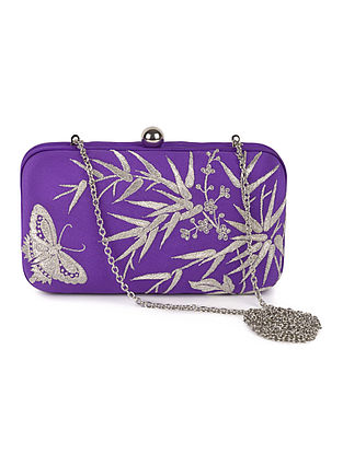 Purple-Ivory Bamboo with Butterfly Crepe Silk Parsi Gara Box Clutch
