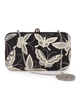 Black-Ivory Butterfly Crepe Silk Parsi Gara Box Clutch