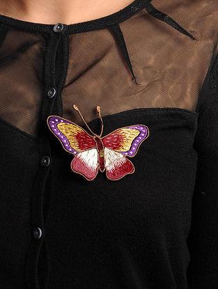Yellow-Purple-Red  Crepe Silk Parsi Gara Brooch