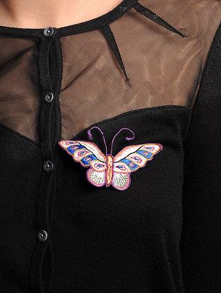 Multi-Color  Crepe Silk Parsi Gara Brooch