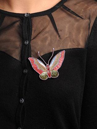 Pink-Green  Crepe Silk Parsi Gara Brooch