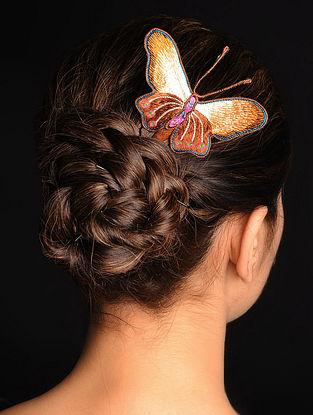 Brown-Yellow  Crepe Silk Parsi Gara Hair Pin