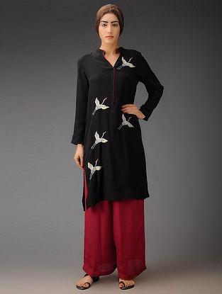 Black-Red Cranes Crepe Silk Parsi Gara Kurta with Palazzo - Set of 2