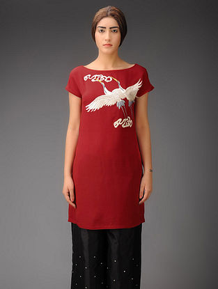 Red-Ivory Cranes and Clouds Crepe Silk Parsi Gara Tunic