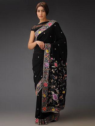 Black-Multi-Color Rose and Bird Gara Crepe Silk Parsi Gara Saree