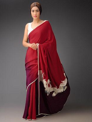 Red-Wine Big Crane Pallu Crepe Silk Parsi Gara Saree