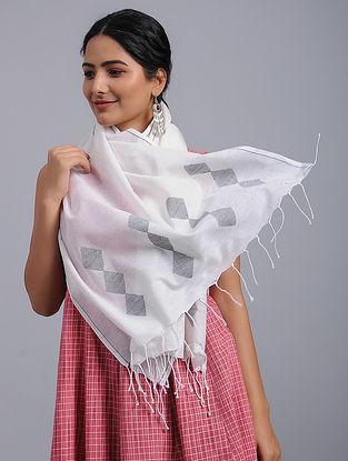 White-Grey Cotton Jamdani Stole