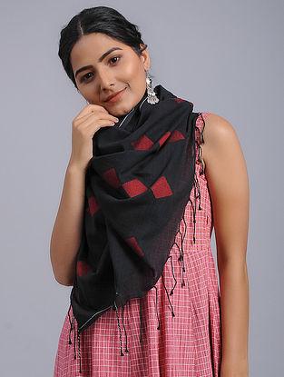 Black-Red Cotton Jamdani Stole