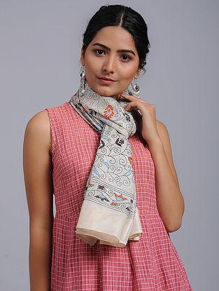 Ivory-Orange Kantha-embroidered Tussar Silk Stole