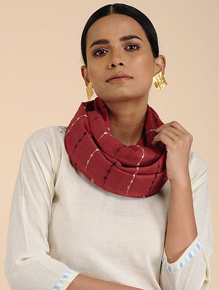 Red Cotton Eri Silk Stole