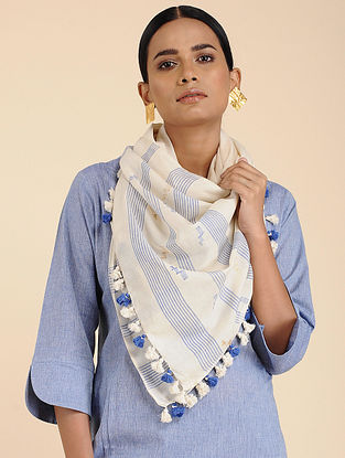 Ivory-Blue Cotton Stole with Tassels