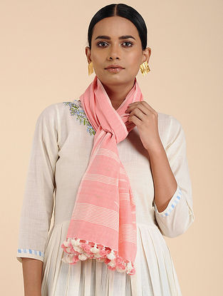 Pink-Ivory Cotton Stole with Tassels