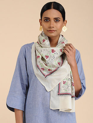 Ivory-Red Kantha-embroidered Tussar Silk Stole