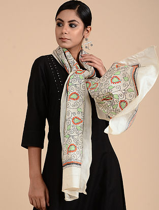 Ivory-Green Kantha-embroidered Tussar Silk Stole