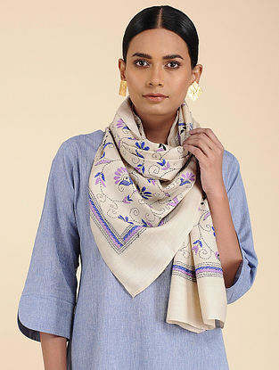 Ivory-Blue Tussar Silk Stole
