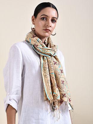 Beige Kantha Embroidered Silk Cotton Stole