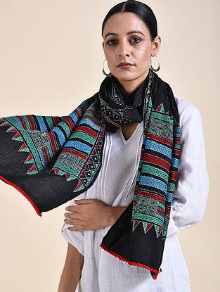 Black Kantha Embroidered Cotton Stole