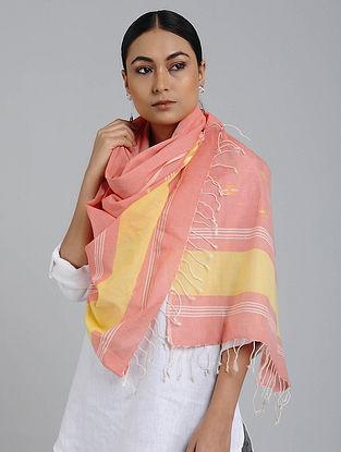 Pink-Yellow Cotton Jamdani Stole