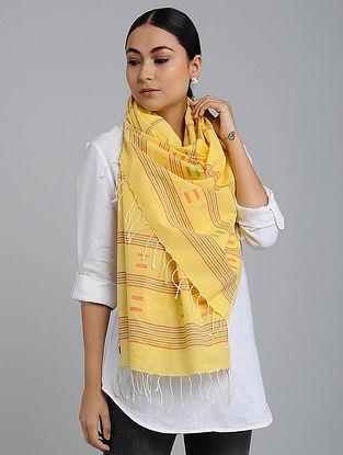 Yellow-Red Cotton Jamdani Stole