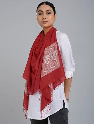 Red Cotton Baluchari Stole