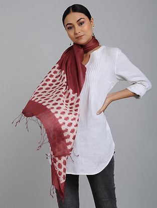 Red-Ivory Shibori-dyed Silk Stole