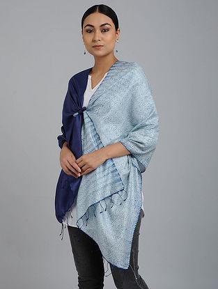 Blue Shibori-dyed Silk Stole