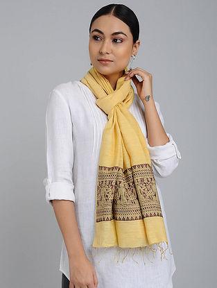 Yellow-Maroon Eri Silk Baluchari Stole