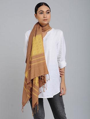 Brown-Yellow Eri Silk Baluchari Stole