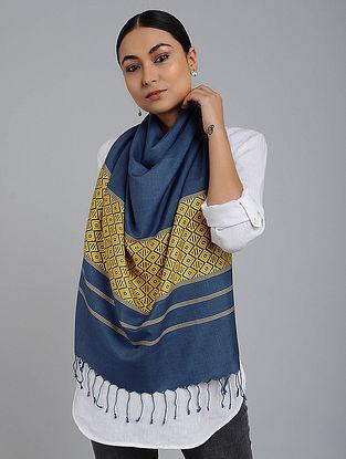 Blue-Yellow Eri Silk Baluchari Stole