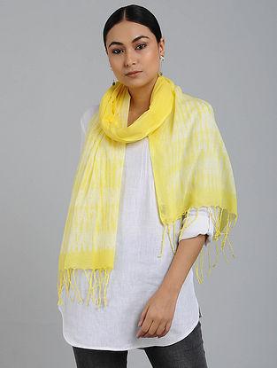 Yellow-Ivory Shibori-dyed Cotton Stole