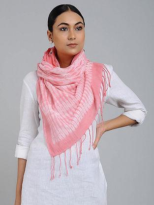 Pink-Ivory Shibori-dyed Cotton Stole