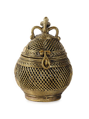 Dhokra Brass Box with Coconut Design (L:4.5in, W:4in, H:6.2in)
