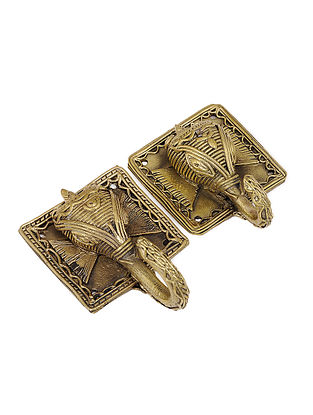 Dhokra Brass Wall Hook with Elephant Face Design (Set of 2) (L:4.2in, W:2.6in, H:1.6in)