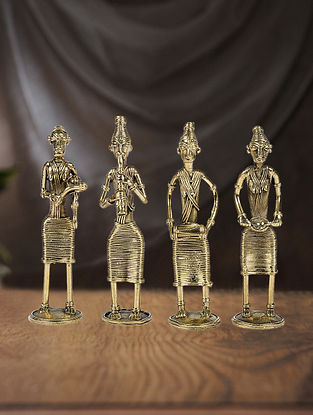 Dhokra Brass Table Accent with Standing Musician ( Set of 4) (L:1.5in, W:1.5in, H:6in)
