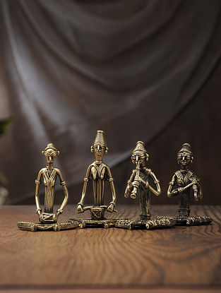Dhokra Brass Table Accent with Sitting Musician (Set of 4) (L:2.3in, W:2.6in, H:4in)