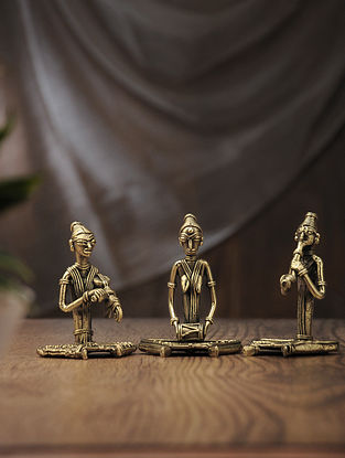 Dhokra Brass Table Accent with Sitting Musician (Set of 3) (L:2.2in, W:2.6in, H:3.6in)