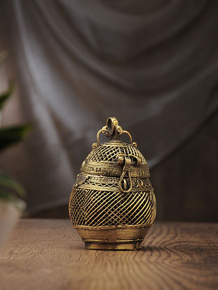 Dhokra Brass Decorative Coconut Box (L:3.6in, W:2.5in, H:5.2in)
