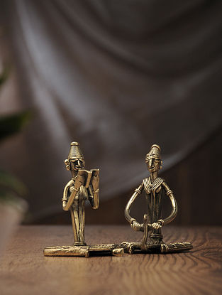 Dhokra Brass Table Accent with Sitting Lady doing Daily Work (Set of 2) (L:2.2in, W:3in, H:4in)