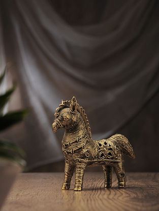 Dhokra Brass Table Accent with Horse Design (L:6in, W:2.5in, H:5.6in)