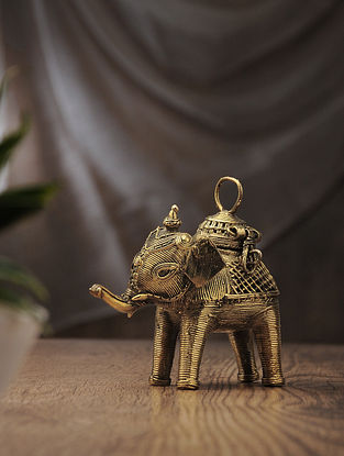 Dhokra Brass Decorative Elephant Box (L:6in, W:3in, H:5.3in)