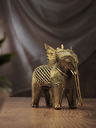 Dhokra Brass Table Accent with Elephant Design (L:5.2in, W:2.7in, H:9.3in)