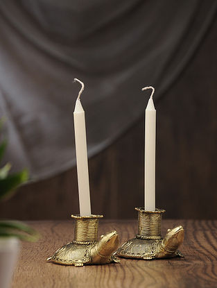 Dhokra Brass Candles with Tortoise Design (Set of 2) (L:4.5in, W:2.5in, H:2in)