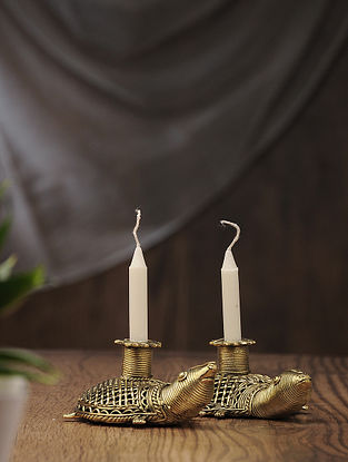 Dhokra Brass Candles with Tortoise Design (Set of 2) (L:5.2in, W:3in, H:2.2in)
