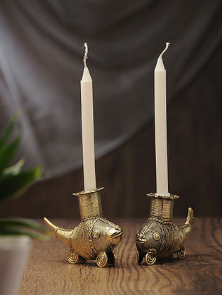 Dhokra Brass Candles with Fish Design (Set of 2) (L:4.5in, W:1.2in, H:3.2in)