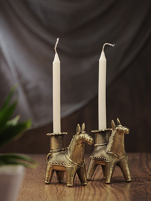 Dhokra Brass Candles with Horse Design (Set of 2) (L:4in, W:1.5in, H:3.5in)